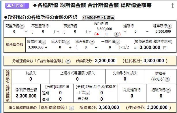 住民税計算ツール抜粋:各種所得の表示