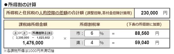 住民税計算ツール抜粋:所得割の計算