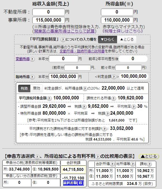 平均課税制度を利用した場合の税額を試算